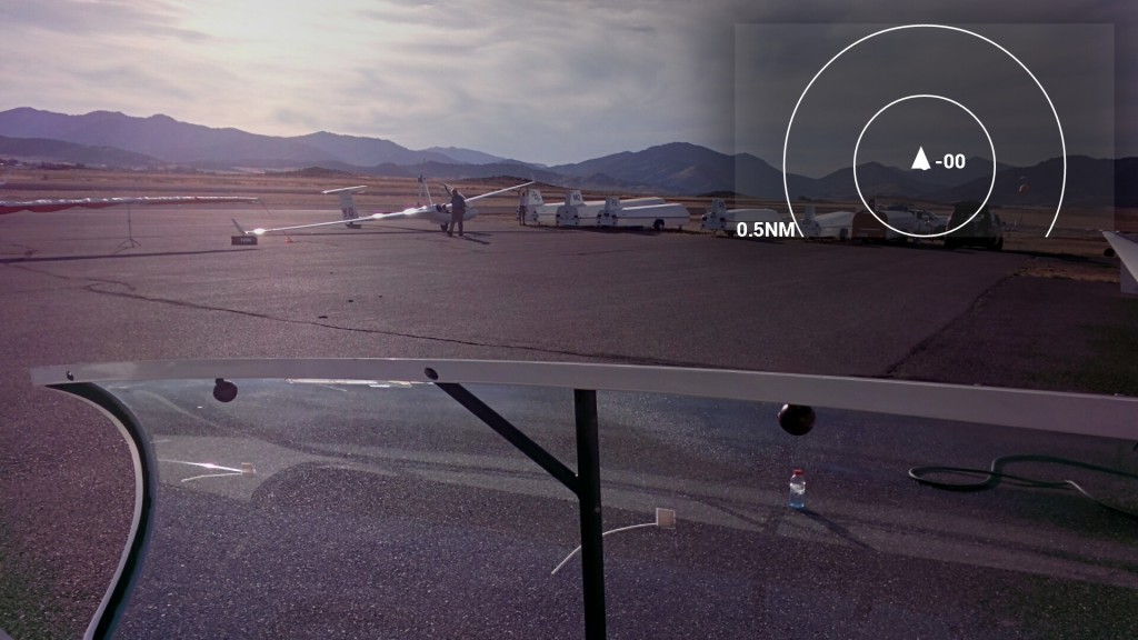 Simulated view of my Google Glass app showing a FLARM display