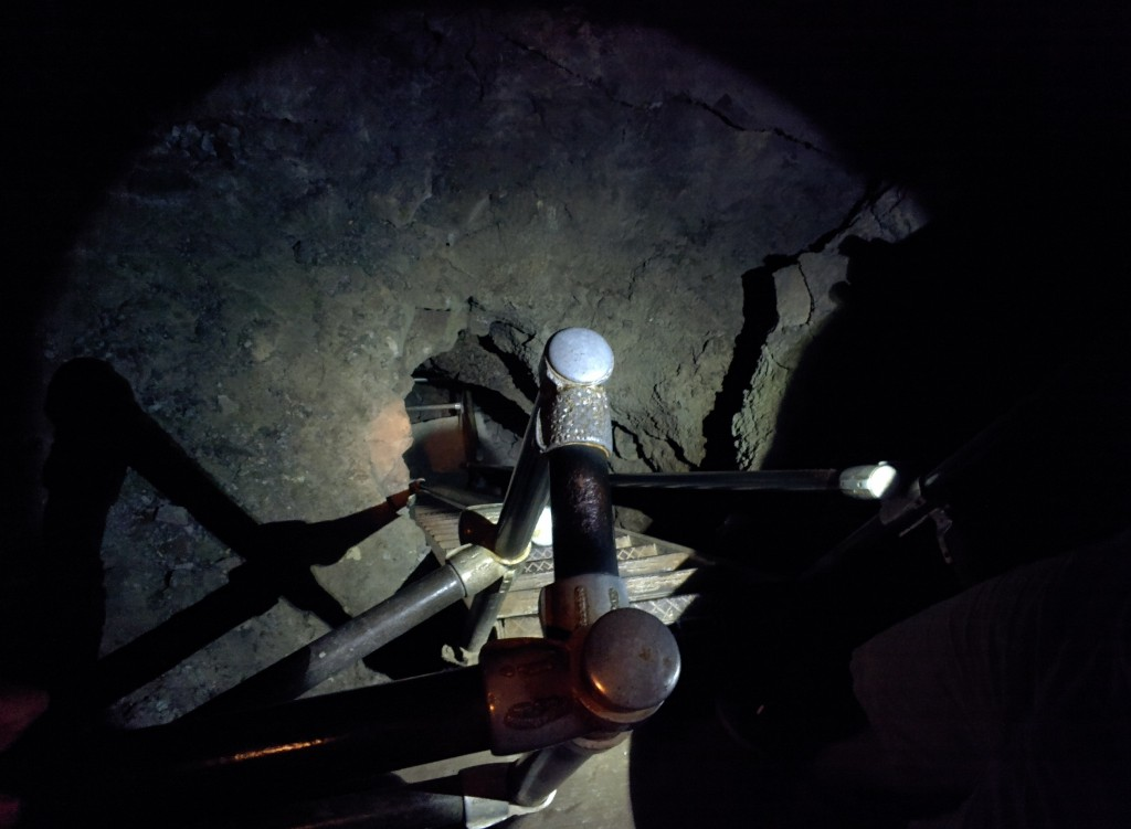 Descending into a lower chamber of Merrill Cave