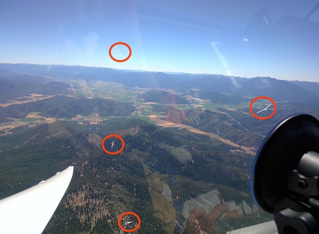 Four gliders sharing this thermal. Guess which scenic valley appears in the background?